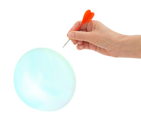 Bubble burst by woman's hand with dart, isolated over white back