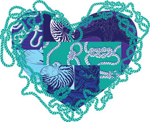 heart with elements of marine life