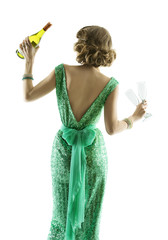 woman whit champagne wine glasses, lady celebration party