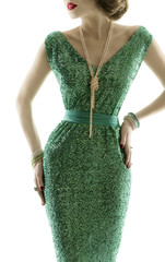 Woman retro fashion dress, sparkle sequin gown, elegant style