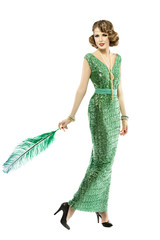 Woman feather in fashion retro sequin dress, luxury lady elegant