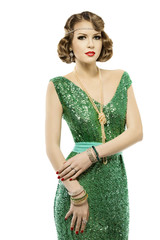 Woman retro fashion portrait in sparkle sequin elegant dress