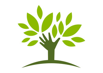 logo natural helping hand tree  vector