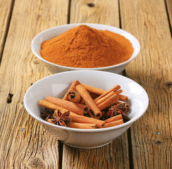 Cinnamon sticks and powder and star anise