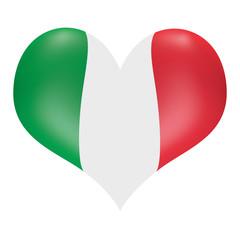 Italian flag in 3D heart shape
