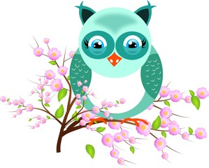 One blue owl on twig of tree