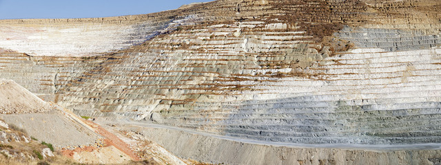 Panorama of an open quarry.Milos island.Greece.