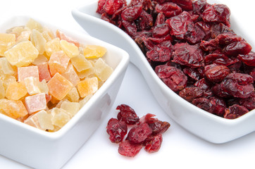 Dried cranberries and candied dried fruits in cups