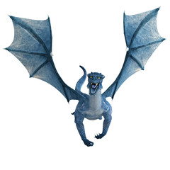 blue dragon flying front view