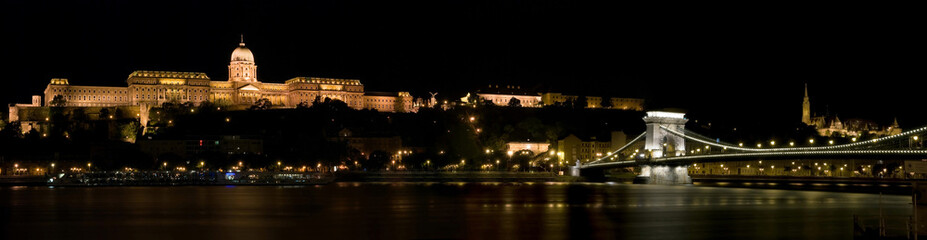 Budapest Buda Castle  and the Chain Bridge at night
