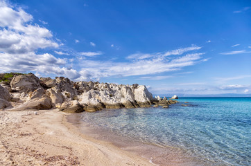 Small secluded beach in Sithonia, Chalkidiki, Greece