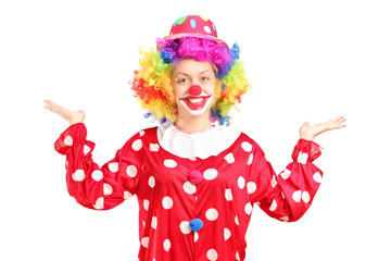 Female clown gesturing with hands
