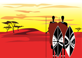 warriors masai in savanna