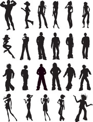 Various People Silhouette Vector Design Poster