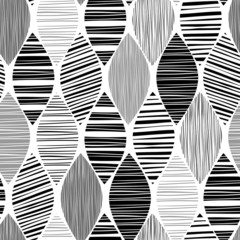 Seamless monochrome pattern with striped abstract leaves.