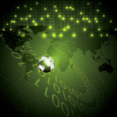 Abstract tech binary green global background