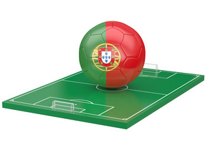 Ballon portugal sur terrain de football