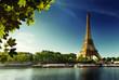 Seine in Paris with Eiffel tower