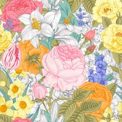 Summer seamless vintage floral pattern.