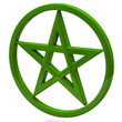 Green pentagram sign isolated on white background
