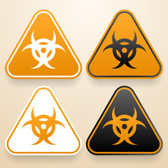 Set of triangular signs of danger