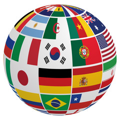 Globe of soccer team flag