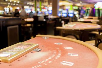 Closeup of Red Casino Gaming Table in Las Vegas City