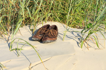 Boat shoes in the sand