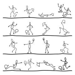 abstract hand drawing cartoon soccer