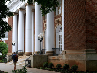 University building with white columns