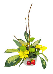 Bouquet from flowers, berries and pussy willows branches.