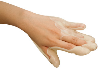 spa hand treatment and beauty,Hand in paraffin bath ,woman recei