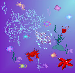Underwater world. Vector.