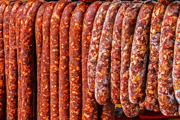 Romanian sausage placed to dry