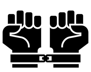 Chained hands vector icon