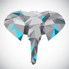 Low polygonal elephant head in popular style