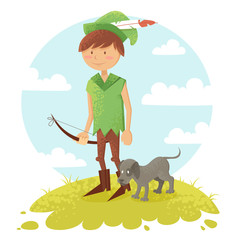 Cute cartoon robin hood boy character