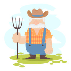 A funny farmer cartoon character