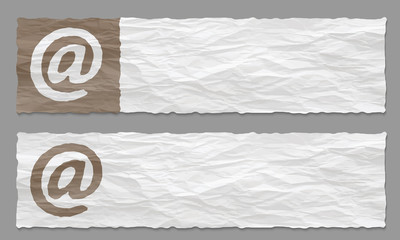 set of two banners with crumpled paper and email symbol