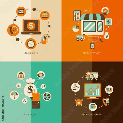 set of Financial market flat concept