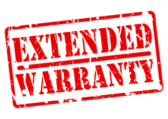 EXTENDED WARRANTY stamp with red text on white