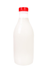 Plastic milk bottle isolated over white