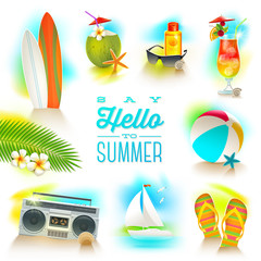 Set of summer and beach vacations elements