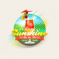 Tropical summer type design with cocktail