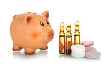 Piggy bank with drugs and ampules
