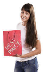 Shopping bag with best price text. Isolated background.