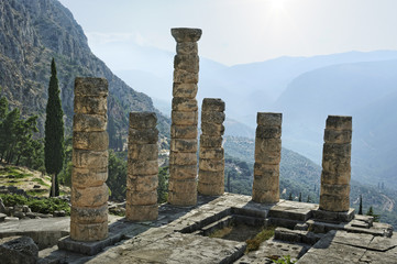 The archaeological ruins of Delphi in Greece