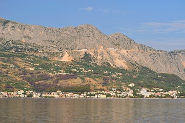 View of high mountain Biokovo in Podgora. Croatia