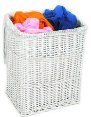 Full laundry basket isolated on white