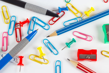 Pencil, pen, paperclips, sharpeners and pushpins
